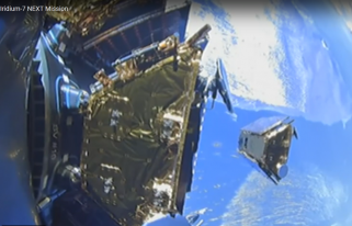 Iridium NEXT satellite separating from SpaceX Falcon 9 second stage (Source: SpaceX video)