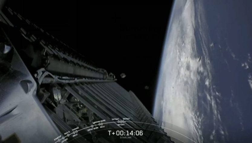 Release of Planet Lab SkySat from SpaceX Starlink v1-10 launch (Source: SpaceX)